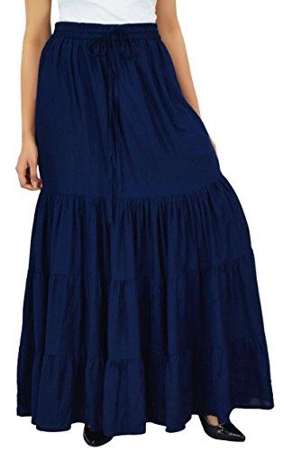 Bimba Frauen Boho Long Flaired Maxi Tierrock Elastische Taille Bohemian Röcke Navy Blau