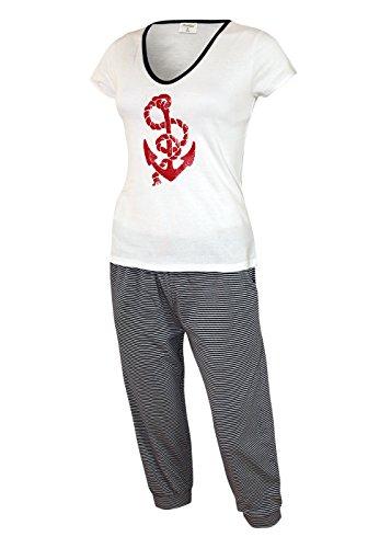 Moonline nightwear - Ensemble de pyjama - Femme Small oberteil weiss /short 3/4 garngefärbte streifen