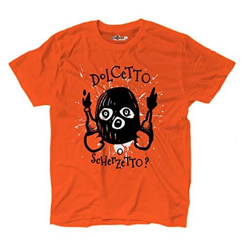 KiarenzaFD T-Shirt Halloween Horror Dolcetto Scherzetto Mazza Molotov Orange, KTSA02343-XL-orange, orange, XL
