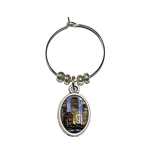 NEW YORK CITY Skyline Sky LED ovale en verre à vin Boisson Marqueur