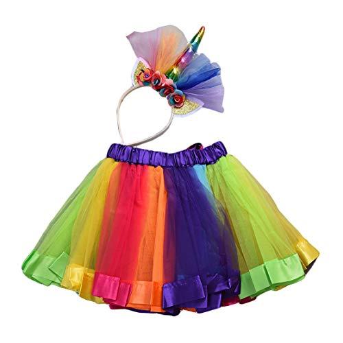 Tutu Rock Mädchen Regenbogen mit Einhorn Blumen Stirnband Kinder Einhorn Kostüme für Party Karneval - Party Stadt Kostüm Für Kleinkind