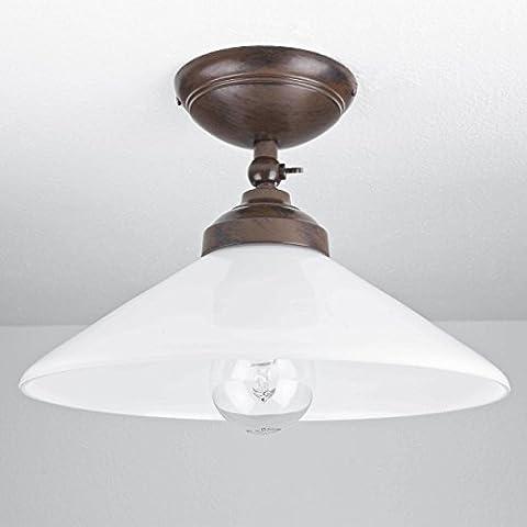 Premium Deckenleuchte aus Messing in braun abgetönt E27 bis 60W 230V für Glas Flur Wohnzimmer Esszimmer Lampen Leuchte Beleuchtung Deckenlampe