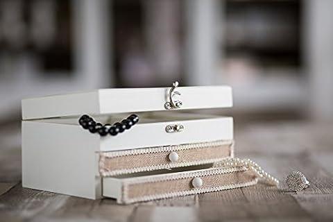 Tissu rustique en bois dur Boîte à bijoux