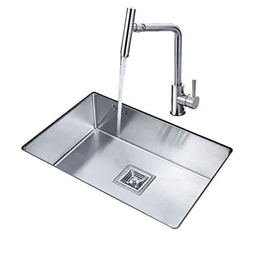 Küchenspülen Waschbecken Manuelles Einzelwaschbecken Haushaltsdicke 304 Edelstahl Unter Aufsatzbecken Waschbecken Universal Robot Wasserhahn 360 ° Rotation