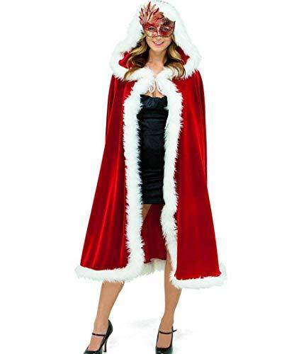 ShineGown Mit Kapuze Fräulein Santa Kostüm Umhang Frauen Mrs Claus Vater Weihnachten Kap Outfit Robe Neujahr (Mrs Claus Kostüm Mit Kapuze)