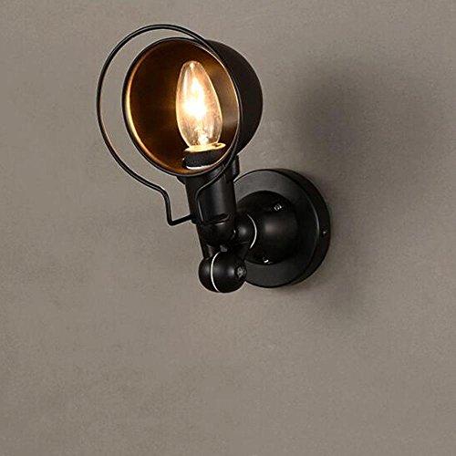 Fer Applique murale vintage style Industriel antique nostalgie intérieur design orientable Lampe murale ronde Lampe Douille Chambre Loft Gang Corde de chanvre lampe de mur L28cm (Noir)