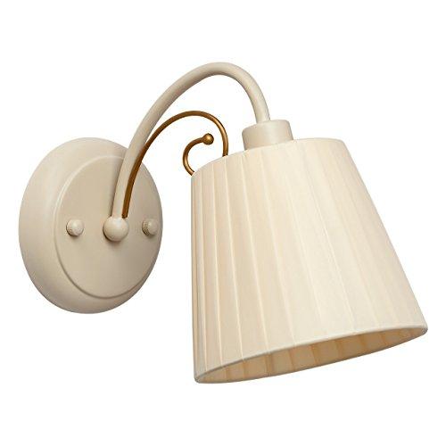 Applique classico colore avorio delicato elegante provenzale paralume tessuto colore beige indorato metallo in soggiorno o in camera da letto 1 bulb E14 60W - escl