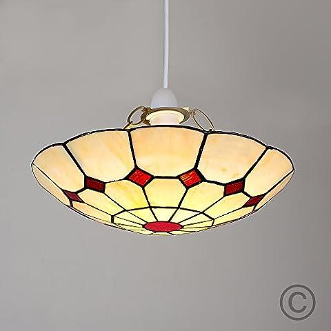 MiniSun - Preciosa pantalla de lámpara de techo del aclamado estilo 'Tiffany', vintage en cristal rojo y crema