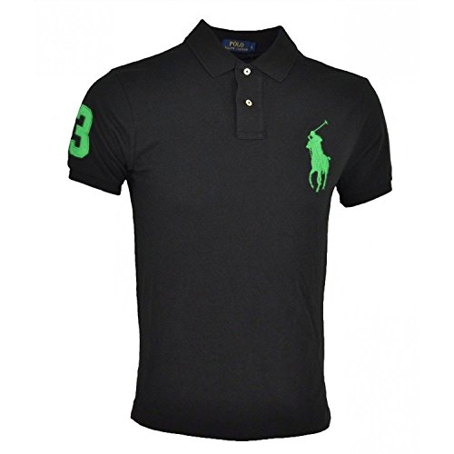Ralph Lauren Polo Big Pony Poloshirt (M, Schwarz/Grün) (Herren Ralph Lauren Polo Schwarz)