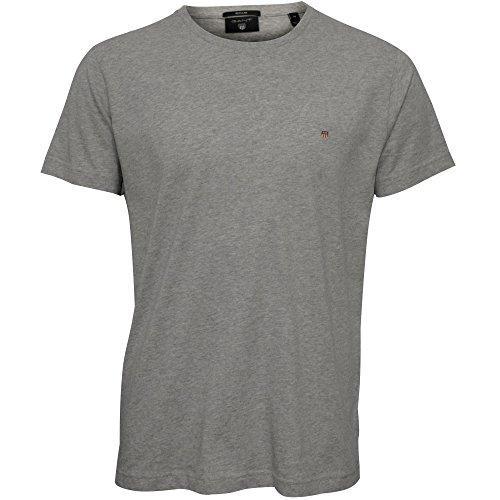 GANT Herren Poloshirt Original Solid T-Shirt Licht Grau Meliert