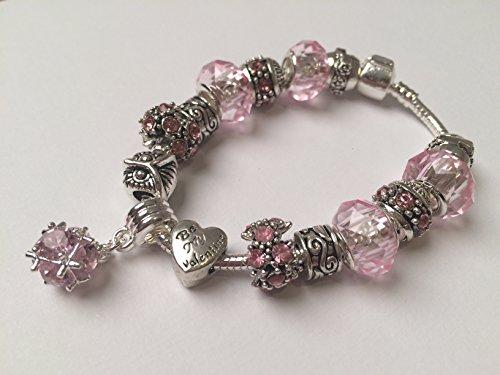 Blue Valley Mädchen-Armband Charms mit rosa geschliffenem Glas Modell 2017 und Schlangenkette