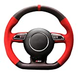 Brillante Grano a Mano Traspirante DIY Car Steering Wheel Cover per Audi RS4 RS5 S5 2012 2016 SQ5 S4 2013 2018