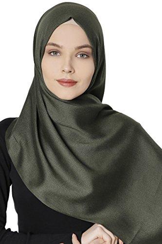 Sehr-i Sal Istanbul - Pashmina Hijab Kopftuch Schal 70x180 cm (Khaki) (Schal Für Hijab)