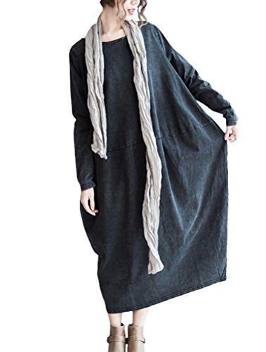 Vogstyle Damen Rundem Halsausschnitt Langarm Denim Baggy-Kleid mit Tasche Langarm Art 1 Schwarz M Black Market Art