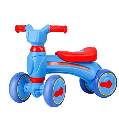 ZXCMNB Kinderwagen, Baby Balance Bikes Fahrrad, 18-48 Monate Kein Fußpedal Kleinkind 4 Räder Kleinkindspielzeug Gleichgewichtstraining Erstes Geburtstagsgeschenk (Color : Blue)