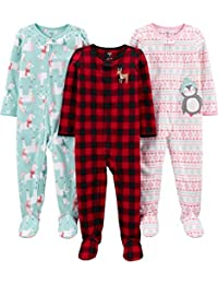Simple Joys by Carter's 3-Pack Loose Fit Flame Resistant Fleece Footed Pajamas Bambina, Pacco da 3