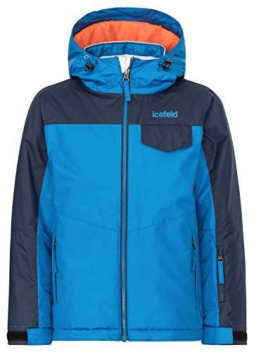 icefeld Kinder Winterjacke/Skijacke mit Kapuze für Mädchen und Jungen, blau in Größe 134