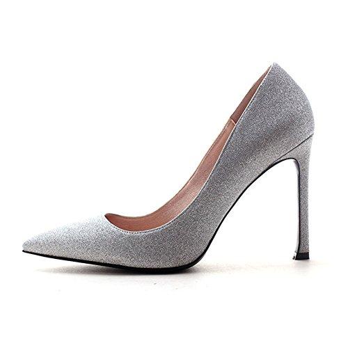 YIXINY Escarpin DA104 Chaussures Femme Sequin Tissu + PU Talon Mince Pointu La Bouche Peu Profonde Robe De Mariée 10 CM Talons Hauts Argent