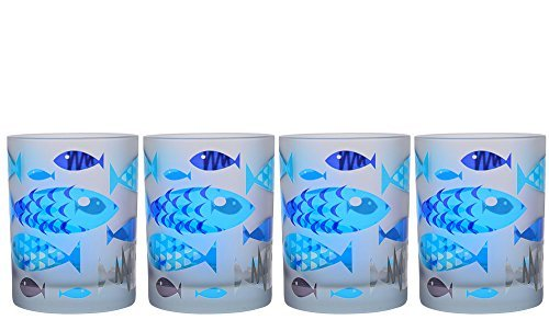 Culver Frosted Fish DOF Double Old Fashion Glass (Set of 4), 14 oz, Blue by Culver Frosted Old Fashion Set