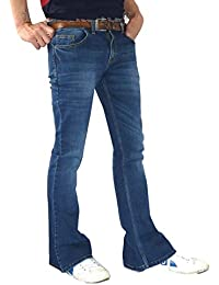 Mens Denim Bell Bottoms Flares Jeans 60s 70s Indie Hippie Distressed Faded Blue