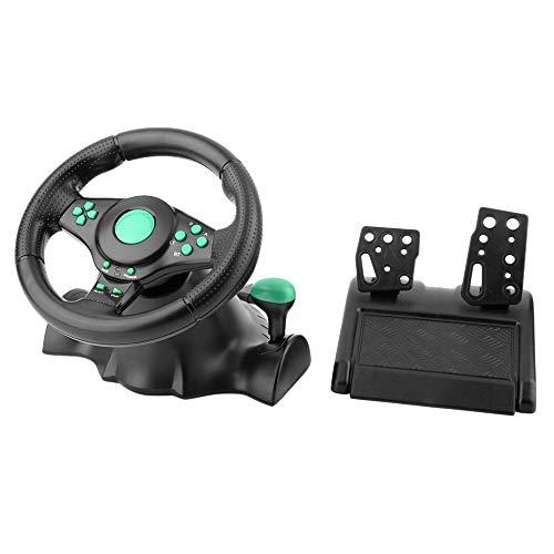 HKANG 180 Grados De Rotación Vibración para Juegos Racing Volante con Pedales para Xbox 360 para PS2 para PS3 PC USB Juego