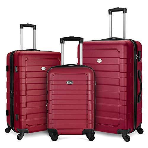 Fochier Juego de Equipaje expandible de 3 Piezas Hardshell Ligero con Bloqueo TSA (20'24' 28') Viento Rojo