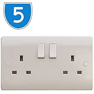 5x ESR White 2 Gang Twin 240V UK Switched Electric Wall Socket 13A 13amp Plug Beveled Double