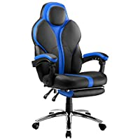 LANGRIA Racing Gaming Chair with Ergonomic High-Back Faux Leather Upholstery, Well-Padded Executive Office Chair with Adjustable Height, Footrest and Tilting Back for Gamers