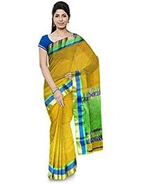 Mujaffara Ansari Maheshwar Cotton and Silk Saree (Yellow)