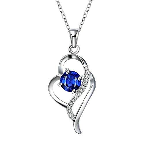 det Für Damen Kette Blau Elemente Herz Kristall Ribbon Design Anhänger Halskette (Pink Ribbon-elemente)