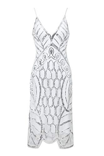 Metme Damen Kleid Retro 1920er Stil Flapper Kleider mit Zwei Schichten Troddel V Ausschnitt Great Gatsby Motto Party Kleider Damen Kostüm Kleid Weißsilber S ()