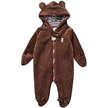 YiJee Niños Manga Larga Pijama con Capucha Otoño e Invierno Oso Forma Monos