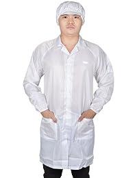 Sourcingmap a12091000ux0133 - Blancas elásticas del manguito 2 bolsillos de parche unisex contra bata bata estática