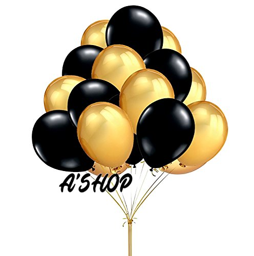 A'SHOP Premium Quality BLACK and GOLDEN Metallic Balloons for Birthday Decoration, Decoration for Weddings, Engagement, Baby Shower Decoration, Anniversary Party, Bachelors Party, Office Party, Diwali, New Year Party, Christmas Decoration(Pack of 50 Ballo