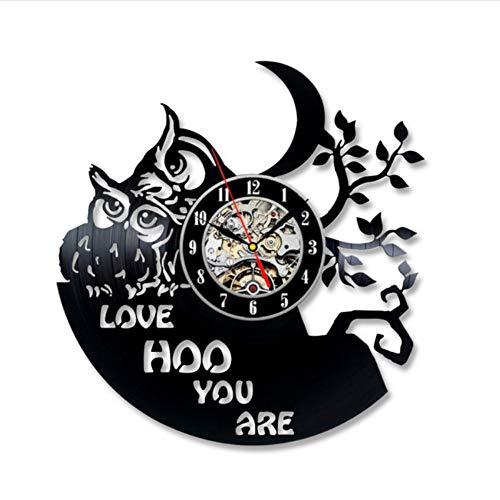 Syhua Love Owls Design Antique Disque Vinyle Record Horloge Murale Décorative Pendaison 3D Horloge Fait Main Art Noir Creux Horloge