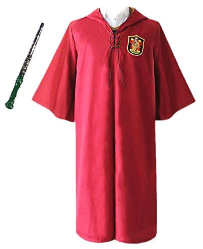 Monissy Unisex Harry Umhang Kinder Erwachsene Robe mit Kapuze Gryffindor Slytherin School Quidditch Costume Cosplay Kostüm Set Harry Weste Halloween Fasching Karneval Party Cosplay - Quidditch Robe Kostüm