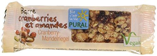 Pural Barre croquante aux Canneberges et Amandes Bio 25g