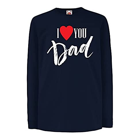 """Kinder-T-Shirt mit langen Ärmeln """"Ich liebe dich Vati"""" Vatertag, Weihnachtsgeschenk, Geburtstagsgeschenk (5-6 years Blau Mehrfarben)"""