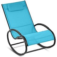 Blumfeldt Retiro - Fauteuil à bascule relaxant en aluminium rocking chair  avec coussin appuie-tête fe4d80292c03