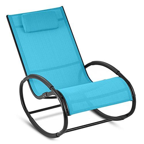 Blumfeldt Retiro - Fauteuil à bascule relaxant en aluminium rocking chair avec coussin appuie-tête (protection caoutchouc sur accoudoirs, surface polyester résistante) – bleu
