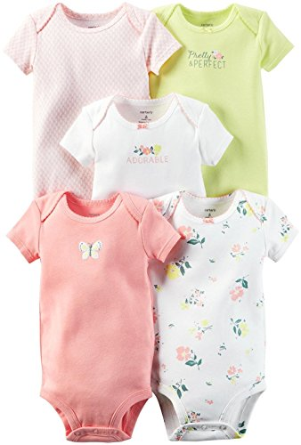 Carters Floral Bodysuit (Carter's Baby Girls' 5-Pack Bodysuits 126g246, Yellow Floral, 18 Months)