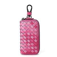 Genuine Leather Key Case Keychain Holder Hook Clip Bag Wallet Purse /Six Key Hook Zipper Case with Card Holder - Rose Red