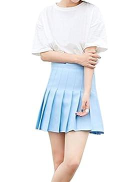Deylaying Escuela Uniforme Vestido Básica Mini Falda Plisada Uniforme De Las Muchachas De Las Mujeres Patinador