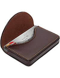NISUN Leather Pocket Sized Credit Card Holder Name Card Case Wallet with Magnetic Shut for Men & Women Brown