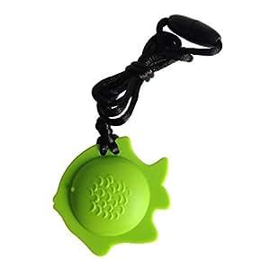 Ciondolo Masticare Collana rosa ciondolo pesce Formazione e Sviluppo agitarsi masticazione del giocattolo collana per bambini dentizione, sensoriali, motori Oral, ansia, autismo, ADHD luce rosa