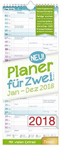 Planer für Zwei 2018 17x42cm, 3 Spalten, Wandkalender 12 Monate Jan-Dez 2018 - Wandplaner Chäff-Timer, Ferientermine, viele Zusatzinfos