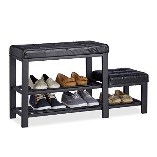 Relaxdays Schuhbank mit Hocker, gemütliche Sitzpolster, Schuhablage mit 2 Ebenen, Kinder, HBT: 50 x 90 x 30 cm, schwarz