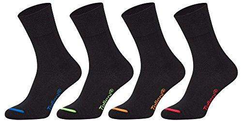 Tobeni 8 Paar Socken in Baumwolle mit Komfortbund ohne Gummi für Damen und Herren Farbe Schwarz farbige Spitze Grösse 47-50