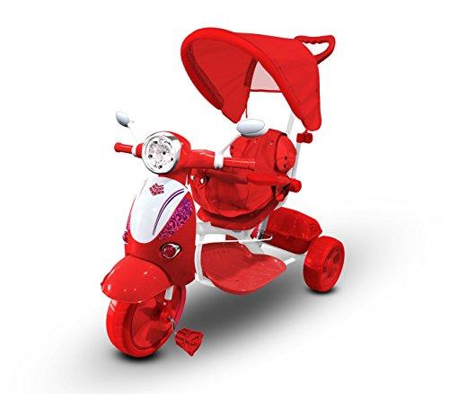 LT 854 Triciclo con pedales para bebés con3 canciones integradas en capota varios colores (Rojo)