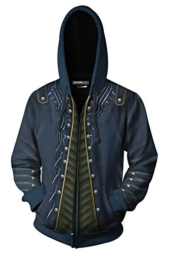 MingoTor Herren Damen Devil May Cry Vergil Zip Up Kapuzenpullover Reißverschluss Sweatshirt Pullover Hoodie 3D Unisex Devils Damen-sweatshirts
